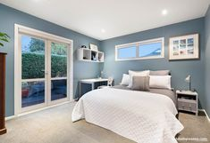 bedroom, boys bedroom, blue bedroom, blue and white bedroom, coastal bedroom Bedroom Boys, White Bedroom, Bedrooms, Resene Colours, L Shaped House, Living Room Interior, Living Rooms, Cheryl, Coastal