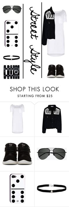 """""""Street Style"""" by totalteenagenobody ❤ liked on Polyvore featuring T By Alexander Wang, Giuseppe Zanotti, Yves Saint Laurent, Amanda Rose Collection and Chanel"""