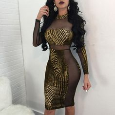 aae08393de32 Petalsfashionz Sexy Club Dress Bodycon gold stamp Sequins Mesh Sheer See-through  Long sleeve Dress