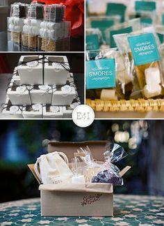 Smore favors.  Perfect pairing for our personalized chocolate bars.
