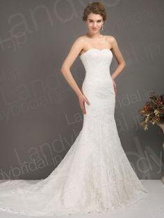 ウェディングドレス マーメイド ハートネック ブラシトレーン レース アイボリー h4pn0075 価格 ¥47,250