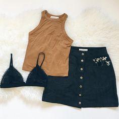 Savanna Tank top in Dijon and Rosie Skirt in Black // Frankie-Phoenix.com