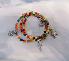omnism multicolor bracelet/ beaded charm by EnchantedWhispersArt