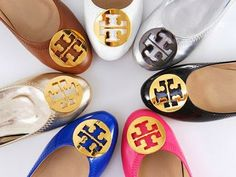 Ladies flatted Tory Burch colorful shoes - classic Tory Burch shoes