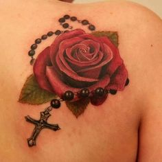 Rose cross tattoo, exactly one I want but yellow rose for my grandmother.
