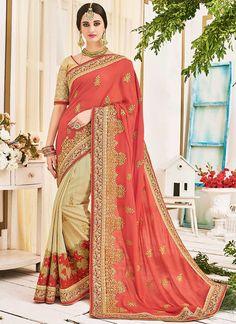 Buy Marvelous Pink Georgette Designer Half N Half saree, Online  #sarees #royal #designersarees #ethnic #glamour #sareelove #sareesonline #womensarees #indianwear #indianweddings #indianstyle #onlineshopping #orangesaree #embroideredsaree #georgettesaree