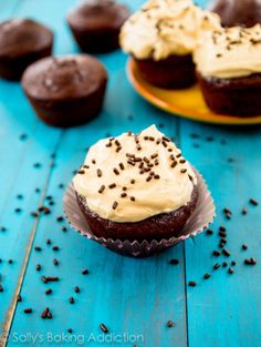 Skinny Chocolate Cupcakes with Peanut Butter Greek Yogurt Frosting at sallysbakingaddiction.com
