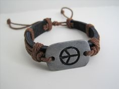 Engraved Peace Sign Leather Cuff by KarensjewelryKorner on Etsy, $4.99