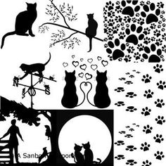CatsDecal Sheet Dimensions: (4 inches x 4 inches) Substitute for old part #41Fusible WHITE Decal Background Designs Cat SilhouetteGlass Decals: Containsseveral different designs of the Cats. They