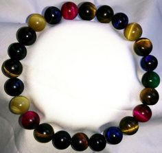 Farbige Tigerauge Heilstein Perlen Armband