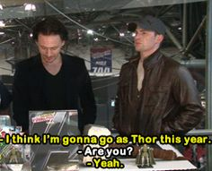 Chris Evans wants to go as Thor for Halloween. Guess who Hiddles wants to be? [GIF]