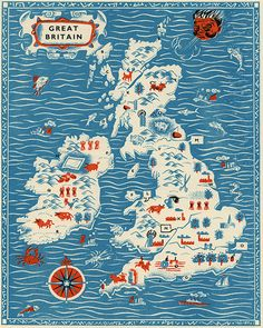 """Vintage England Map """"Great Britain"""" Antique British Map - Red White and Blue Nautical Art Print - Mid Century Modern Art. $25.00, via Etsy."""