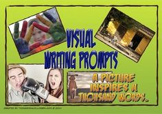 """Picture writing prompts are a great way to spark students' creativity. This set includes twenty picture of people in various settings (four per A4 sheet) that can be printed, cut and laminated for use in your writing workshop or in a center. There are two versions of each picture; one with """"starter questions"""" on the back of the prompt to get students going."""
