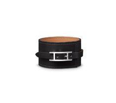Fleuron Large Hermes leather bracelet (size PM) Black Chamonix calfskin Silver and palladium plated wide, diameter, circumference. Hermes Leather Bracelet, Leather Jewelry, Bangle Bracelets, Bracelet Watch, Bangles, Fine Jewelry, Women Jewelry, Hermes Online, Bracelet Sizes