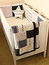 Textil - Fialovo-béžovo-tmavošedý set do postieľky - 6507804_