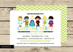 Costume birthday party invitations with envelopes fall halloween costume birthday party invitation princess ninja pirate fairy chevron dress up boy girl printable stopboris Choice Image