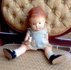 Original Antique EFFANBEE Patsy doll, 13  Blue Dress NEEDS HOME