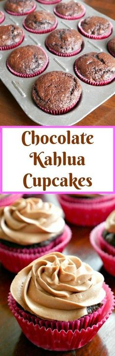 Simple and super moist Chocolate Kahlua Cupcakes with Kahlua Buttercream Frosting