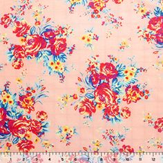 I love this print. The other colors are great too! Girlcharlie fabrics!  Red Blue Roses and Peach Cotton Silk Jersey Knit Fabric