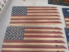 Antiqued custom made wood picket fence flags handmade by military mom and son!