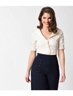Unique Vintage 1940s Style Cream Button Up Short Sleeve Coco Top