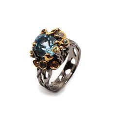 Ring mit himmelblauem Topaz Himmelblau, Topaz, Jewellery, Floral, Fashion, Sapphire, Schmuck, Silver, Ring