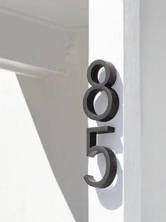 Modern Entrance Door, Modern Door, Modern House Plans, Front Door Numbers, Metal House Numbers, Entry Door Hardware, Hallway Wall Decor, Stucco Homes, Design Within Reach