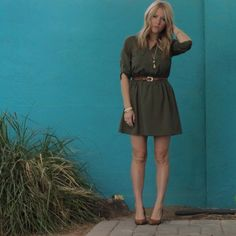 Rovey Ave. Olive Drab Dress TJ Maxx Vintage Accessories Express Camel Wedges Love that blue wall Blonde Hair