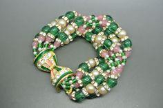 Vintage Rare 70s KJL Kenneth Jay Lane moghul green pink beaded bracelet
