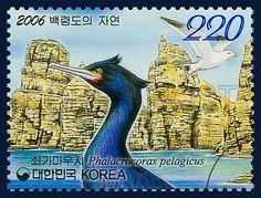 Nature of Baengnyeongdo, pelagic cormorant,  Bird, Blue, 2006 01 18, 백령도의 자연, 2006년 1월 18일, 2476, 쇠가마우지, postage 우표