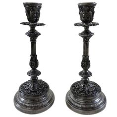 """Grande Imperiale by Buccellati Sterling Silver Candlesticks Pair 9 1/8"""" Italy 