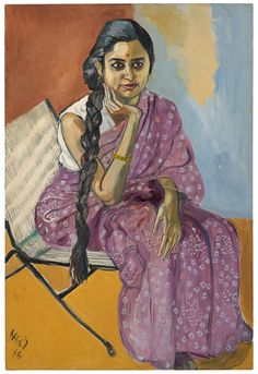 "Paintings from the show ""Alice Neel: Uptown."" lice Neel's 1966 painting of a South Asian woman, her mauve sari covered with periwinkle diamonds, is among two dozen portraits in the show ""Alice Neel: Uptown"" at David Zwirner gallery."