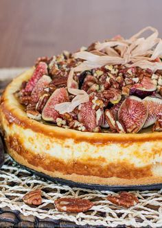 Goat Cheesecake with Figs, Pecans and Honey – a heavenly decadent cheesecake…