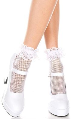 640b2adecfe49 Music Legs - Fishnet Ruffle Trim White Ankle Socks Lace Ruffle, Ruffle Trim,  Ruffles