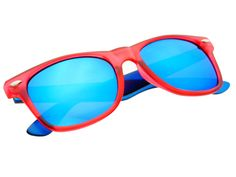 Reflective Blue Mirror Lens Wayfarer Sunglasses Red Blue W841