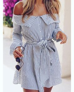 #Stripes #Offheshoulder With #Sunglasses