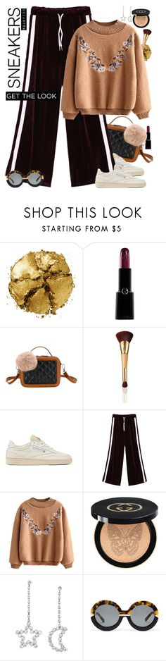 """""""Martes!"""" by gabyidc ❤ liked on Polyvore featuring Pat McGrath, Giorgio Armani, tarte, Reebok, Gucci and Karen Walker"""
