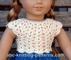 FREE crochet pattern for an American Girl Doll Seashell Summer Top by ABC Knitting Patterns