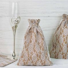 10 Pack Rustic Burlap and Floral Lace Drawstring Favor Bags - ChairCoverFactory Burlap Wedding Favors, Champagne Wedding Favors, Burlap Favor Bags, Elegant Wedding Favors, Wedding Favor Bags, Beach Wedding Favors, Party Favor Bags, Gift Bags, Favor Boxes