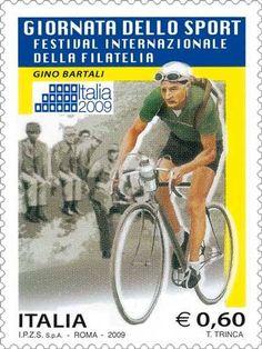 """Gino Bartali - Francobollo emesso in occasione del Festival internazionale della Filatelia """"Italia 2009"""": Giornata dello Sport (2009)."""