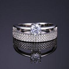 JewelryPalace Donna Gioiello 0.9ct Cubic Zirconia Fascia Cerimonia Nuziale Anello di Fidanzamento Anniversario Set Argento Sterling 925