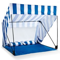 The Island Shade Tent and Beach Shack in Blue and White. Cute idea for baby at the beach Beach Tent, Beach Umbrella, Beach Cabana, Beach Shade, Shade Tent, Beach Hacks, Beach Accessories, Travel Accessories, Tent Camping