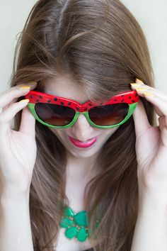 diy watermelon sunglasses - love this, but I think I'd flip it (green along the top, red below)