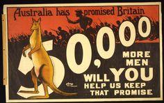 Cartel de la campaña de reclutamiento de soldados en Australia para la Primera Guerra Mundial