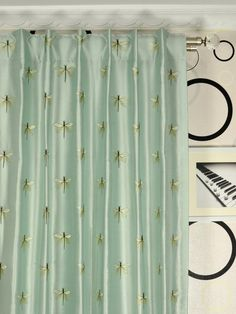 Halo Embroidered Dragonflies Dupioni Silk Custom Made Curtains from Cheery Curtains. Made of silk, curtains can be used for bedrooms, living rooms, or guest rooms. Custom Made Curtains, Silk Curtains, How To Make Curtains, Halo, Dragonflies, Pattern, Top, Design, Home Decor
