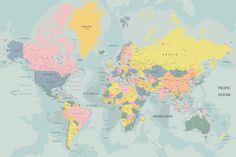 Free hd political world map poster wallpapers download world map pastel world map wallpaper muralswallpaper gumiabroncs Image collections