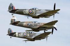 "Supermarine Spitfire variants. From top down: LF Mk. XVIe ""CR/S"" (No. 74 Squadron, RAF), PR Mk. XIX PS890 ""UM/E"" (No. 152 Squadron, RAF), LF Mk.Vb EP120 ""AE/A"" (No. 402 Squadron, RCAF)."
