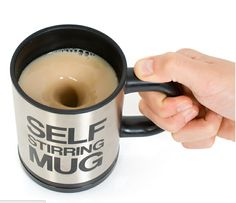 Self Stirring Mug. Easily blend in your cream and sugar without a spoon.