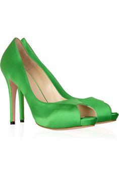 Sniffle - Alexander McQueen Open-toe satin pumps Now $308