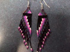 Native American long seed beaded earrings via Etsy